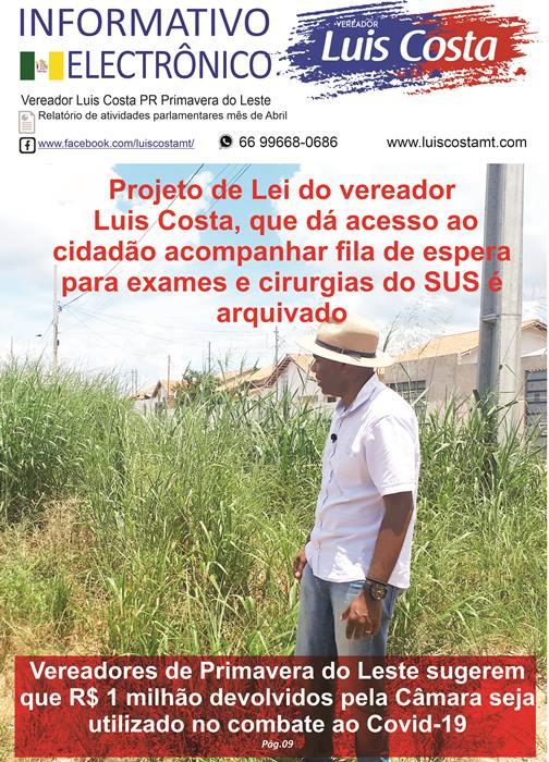 Boletim Eletrônico atividades do vereador Luis Costa mês de abril 2020