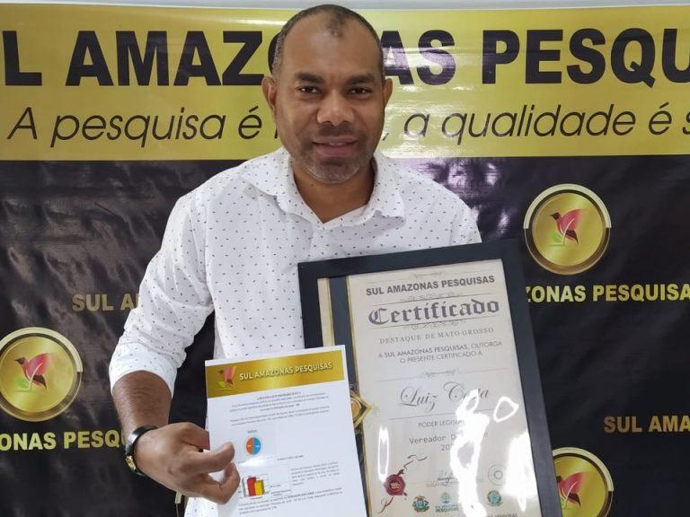 Vereador Luis Costa ganha certificação de reconhecimento como vereador Destaque em Primavera do Leste pela terceira vez